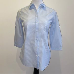 Massimo Dutti Washed Checkered 3/4 Button Down